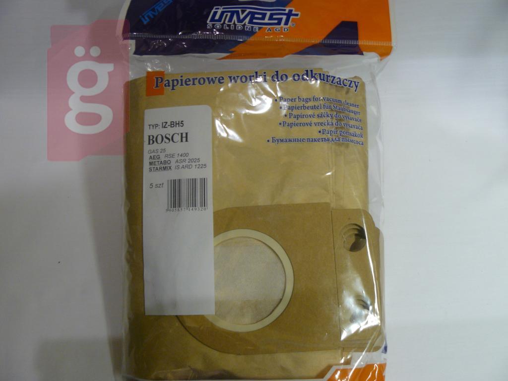 Kép a(z) IZ-BH5 Invest Bosch GAS 25 / GAS 25 L SFC Kompatibilis papír porzsák (5db/csomag) nevű termékről