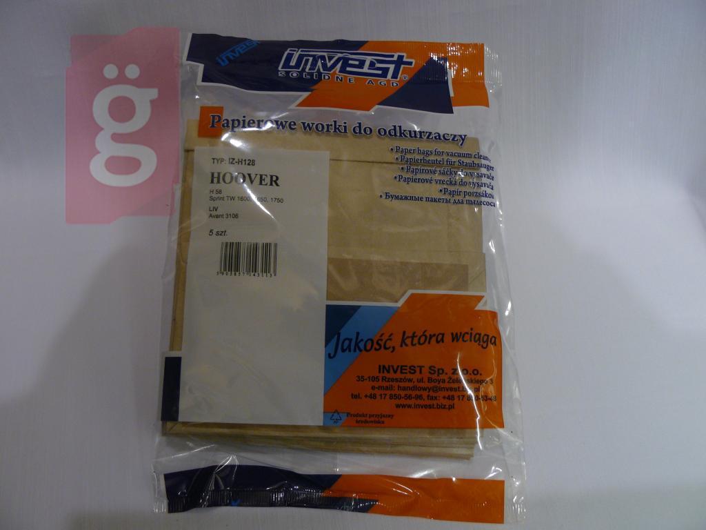 Kép a(z) IZ-H128 Invest HOOVER H58 / H63 / H64 Kompatibilis papír porzsák (5db/csomag) nevű termékről