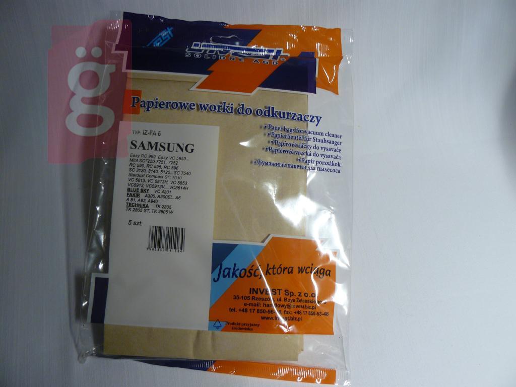 Kép a(z) IZ-FA6 Invest Samsung VP95 stb. Kompatibilis papír porzsák (5db/csomag) nevű termékről