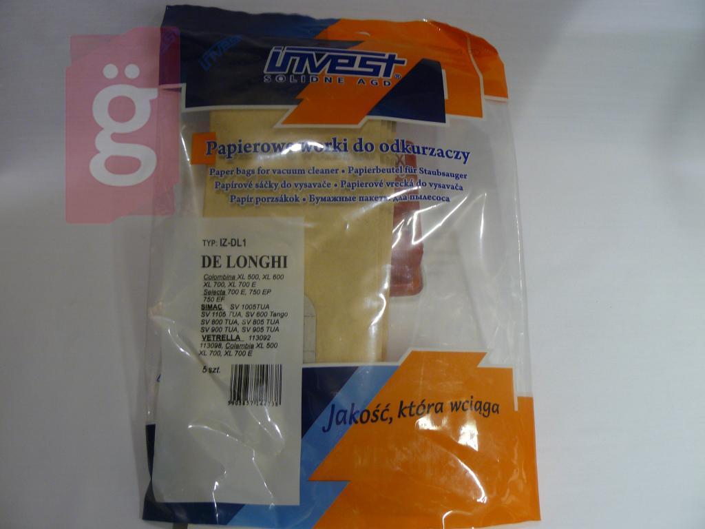 Kép a(z) IZ-DL1 Invest DELONGHI XL500 stb. Kompatibilis papír porzsák (5db/csomag) nevű termékről