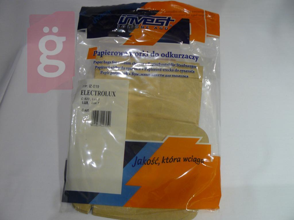 Kép a(z) IZ-E19 Invest  LUX-kompatibilis LUX 1 / D820 / D815 papír porzsák (5db/csomag) nevű termékről
