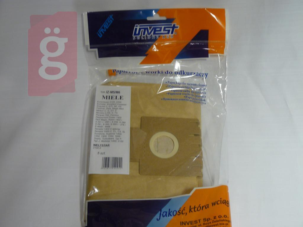 Kép a(z) IZ-M5/M6 Invest MIELE Kompatibilis papír porzsák (5db/csomag) nevű termékről