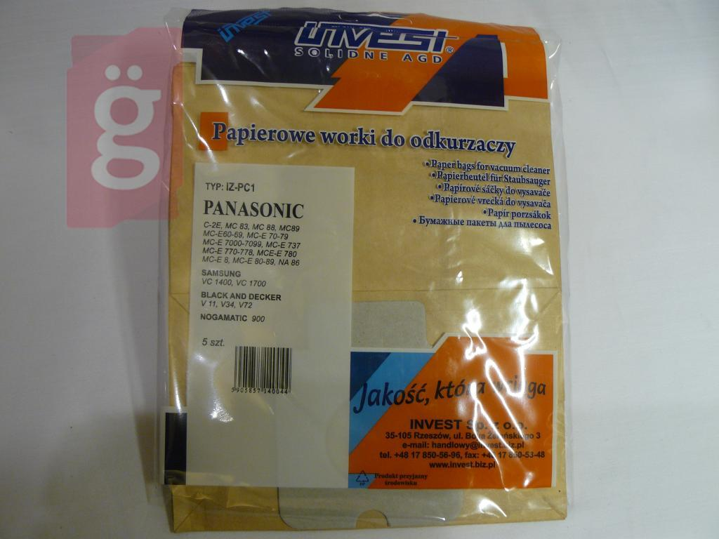 Kép a(z) IZ-PC1 Invest Panasonic C2 C2E stb. papír porzsák (5db/csomag) nevű termékről