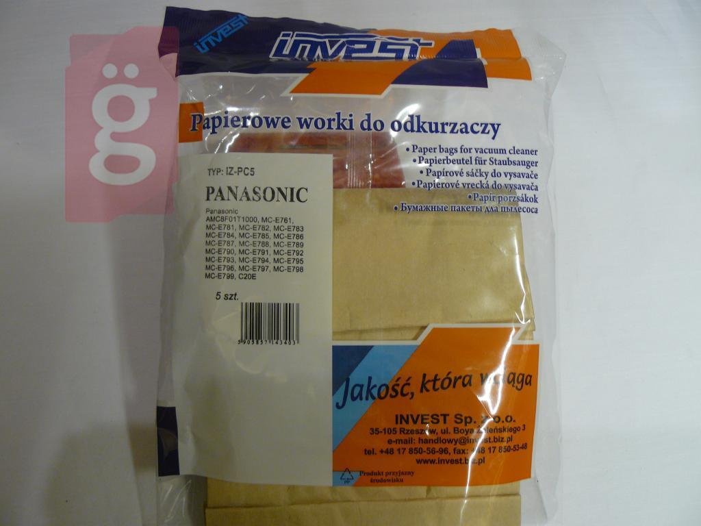 Kép a(z) IZ-PC5 Panasonic Invest papír porzsák (5db/csomag) nevű termékről