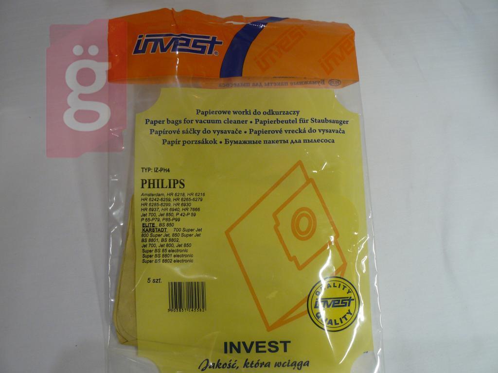 Kép a(z) IZ-PH4 Invest Philips stb. papír porzsák (5db/csomag) nevű termékről