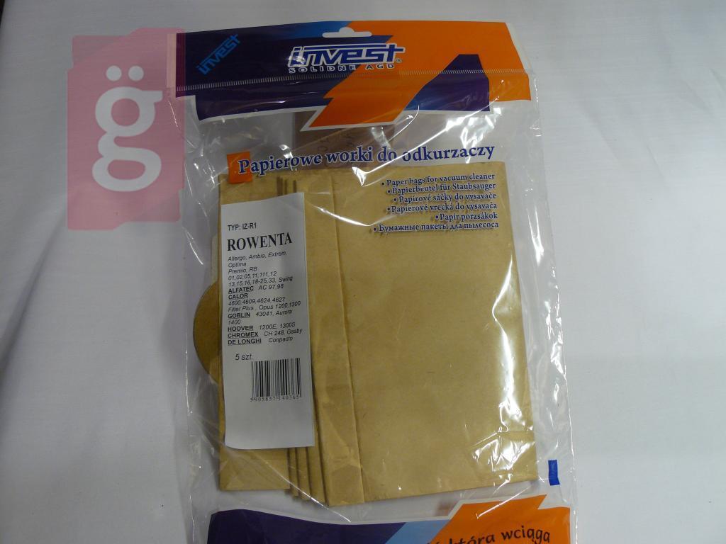 Kép a(z) IZ-R1 Invest Rowenta Allegro / Premio stb. papír porzsák (5db/csomag) nevű termékről