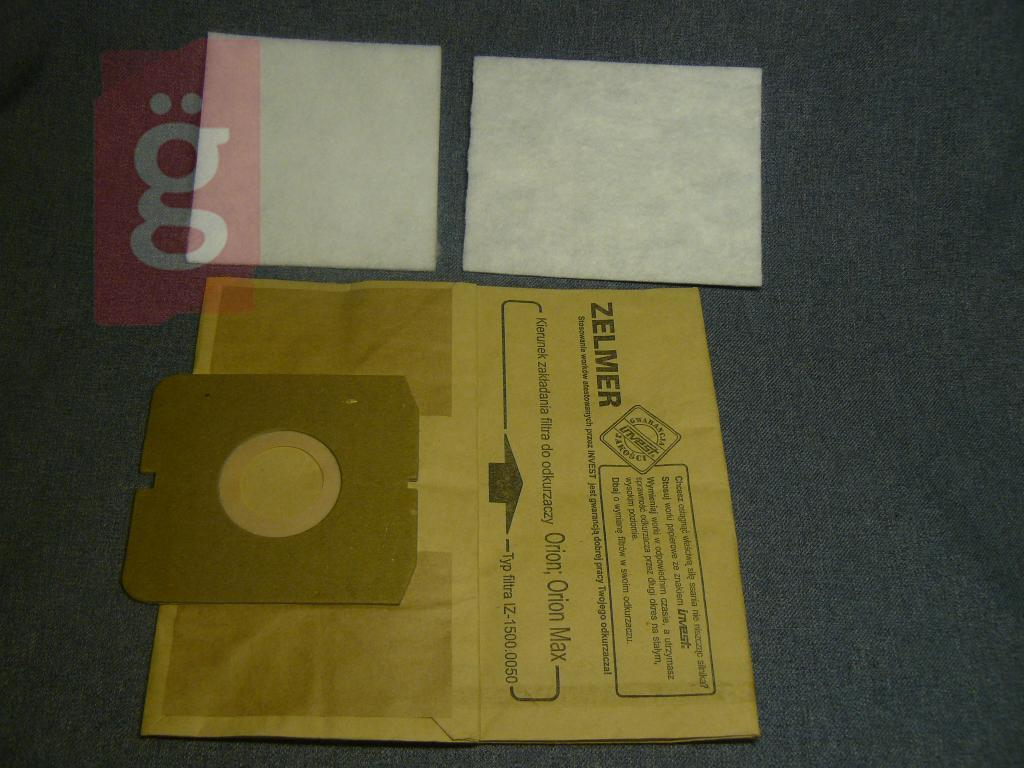 Kép a(z) IZ-1500.0057 Invest Zelmer Orion Twister Twist stb.papír porzsák (5db+2filter/csomag) nevű termékről
