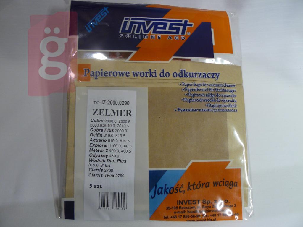 Kép a(z) IZ-2000.0290 HELYETTE: IZ-2000/321    Zelmer Invest papír porzsák (5db/csomag) nevű termékről