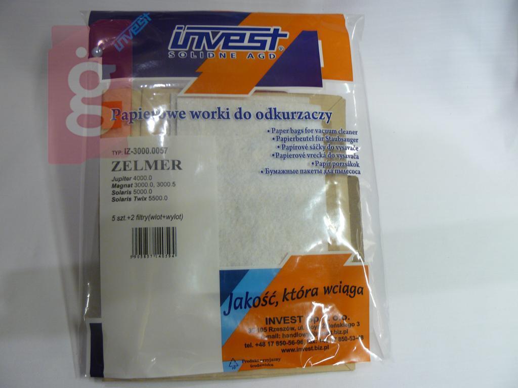 Kép a(z) IZ-3000.0057 Zelmer 3000 Invest Kompatibilis papír porzsák (5db+2filter/csomag) nevű termékről