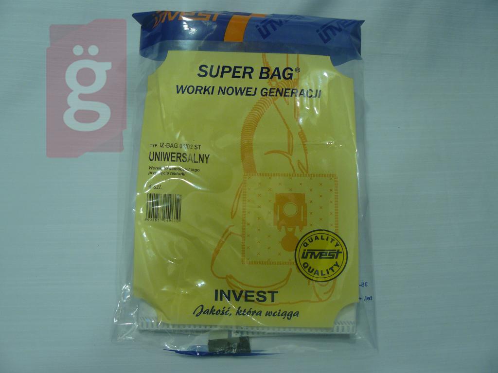 Kép a(z) IZ-BAG01/02S Invest Univerzális mikroszálas porzsák (5db/csomag) nevű termékről