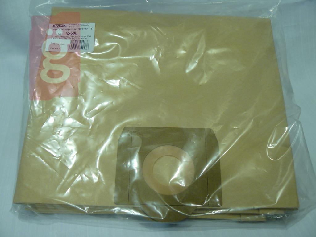 Kép a(z) IZ-60L Invest Ipari 60Literes Kompatibilis papír porzsák (5db/csomag) nevű termékről