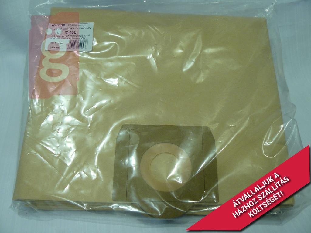 Kép a(z) IZ-60L Invest Ipari 60Literes papír porzsák (5db/csomag) nevű termékről