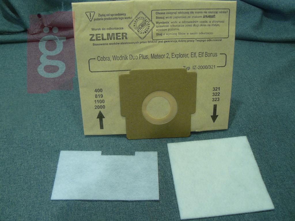 Kép a(z) IZ-323.0057 Invest Zelmer Flip Cobra stb. Kompatibilis papír porzsák (5db/csomag) nevű termékről