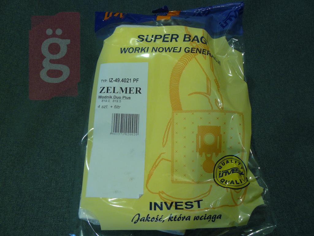 Kép a(z) IZ-49.4021PF Invest Zelmer Kompatibilis mikroszálas porzsák (4db+2filter/csomag) nevű termékről