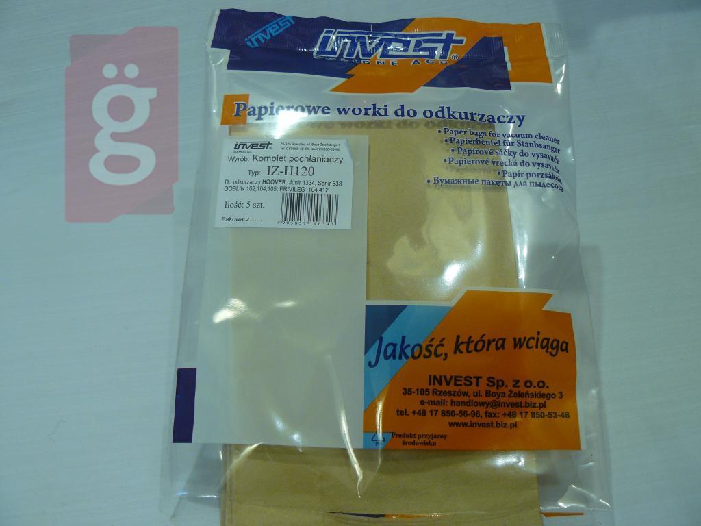 Kép a(z) IZ-H120 Invest Kompatibilis papír porzsák (5db/csomag) nevű termékről