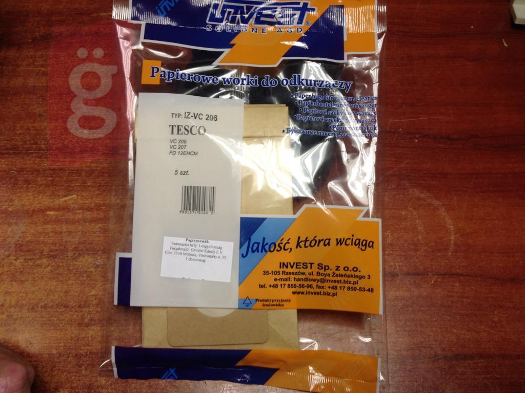 Kép a(z) IZ-VC206 Invest Tesco VC 206 VC 207 Kompatibilis papír porzsák (5db/csomag) nevű termékről