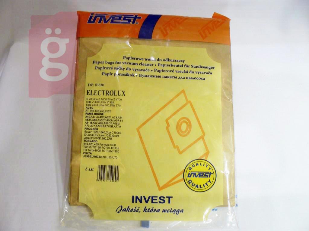 Kép a(z) IZ-E20 Electrolux stb. Invest Kompatibilis papír porzsák (5db/csomag) nevű termékről