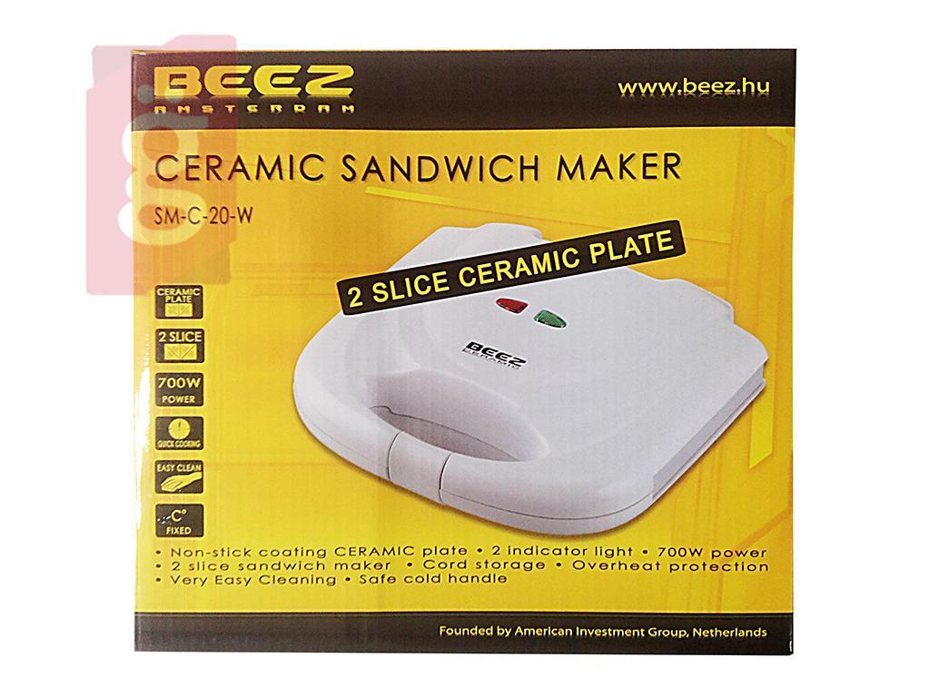 Kép a(z) BEEZ SM-C-20-W Szendvicssütő 2 szeletes kerámia bevonatos 700W nevű termékről