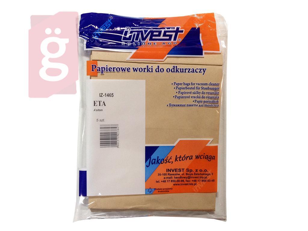 Kép a(z) IZ-1465 Invest ETA Aston 1465 papír porzsák (5db/csomag) nevű termékről