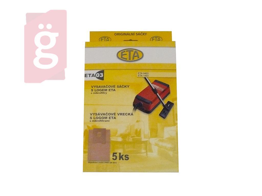 Kép a(z) IZ-403 ETA 1403 papír porzsák (5db+2filter/csomag) ETAS05 Gyári nevű termékről