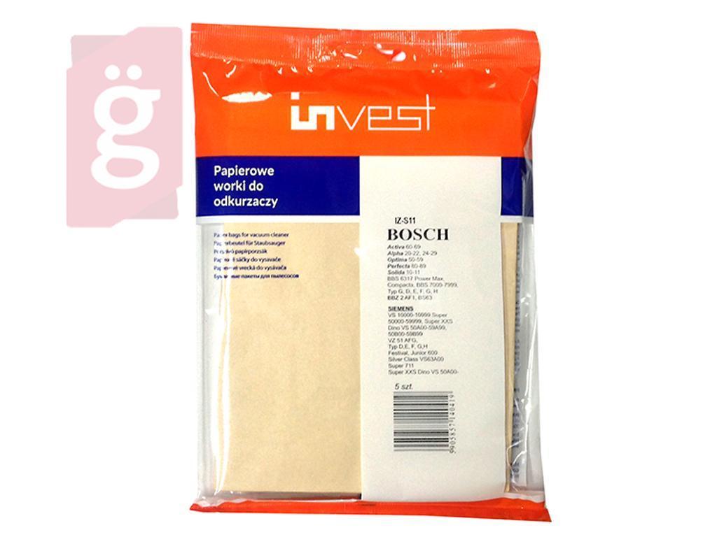 Kép a(z) IZ-S11C Invest Bosch / Siemens G stb. (IZ-S11 HELYETT)papír porzsák (5db/csomag) nevű termékről