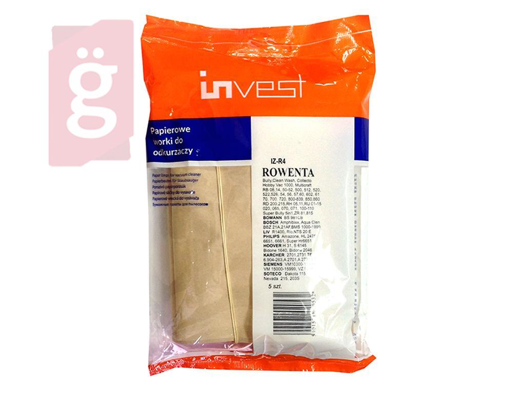 Kép a(z) IZ-R4 Invest Rowenta Bully stb. takarítógép papír porzsák (5db/csomag) nevű termékről