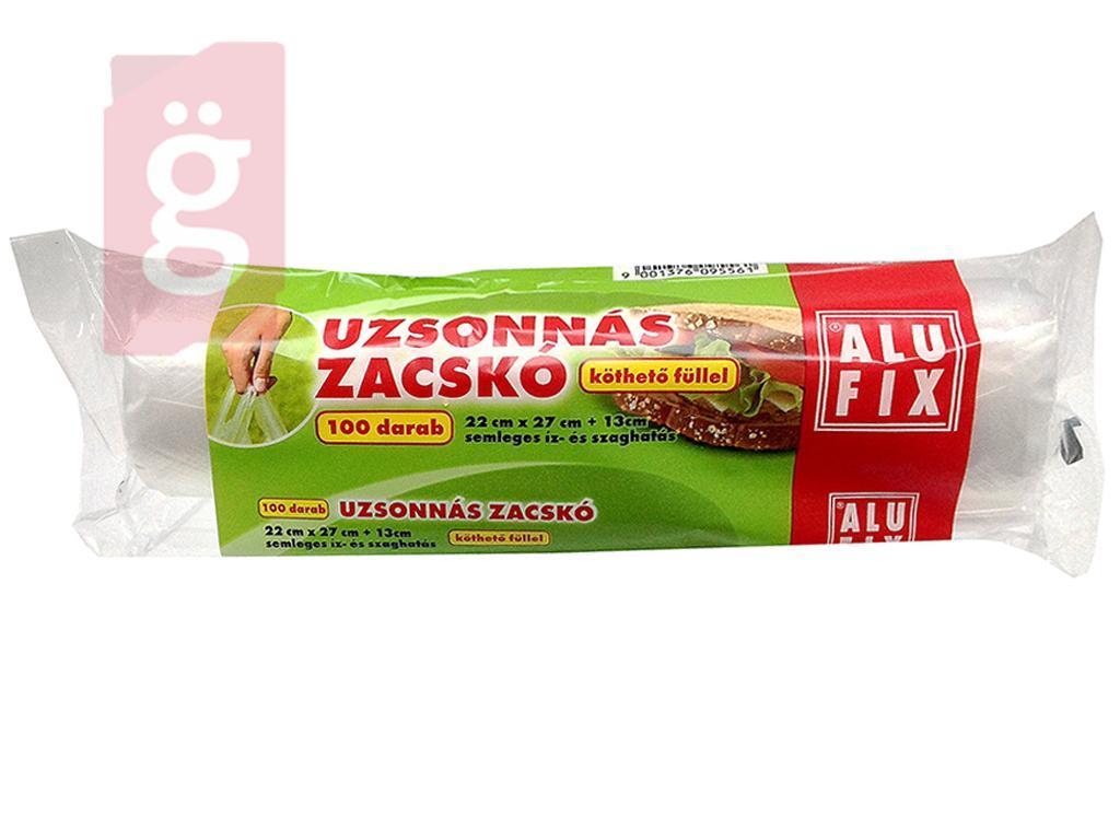 Kép a(z) Alufix Uzsonnás zacskó 100db XL 22cmx27cm+13cm Köthető füllel (Semleges íz- és szaghatás.) nevű termékről