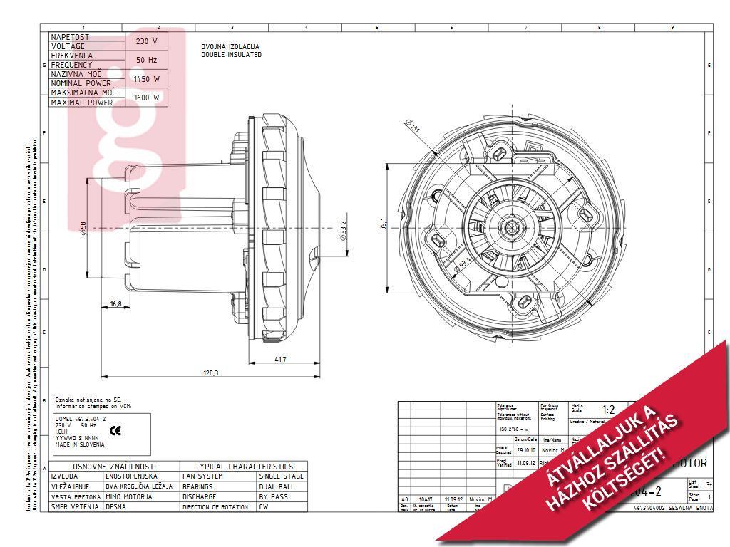Kép a(z) Porszívó Komplett Motor Domel 467.3.404-2 1600W Zelmer ZVC762 / KARCHER WD 5 / Nilfisk Alto Attix 30-01 /   00145616 nevű termékről