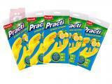 Kép a(z) Paclan Practi Gumikesztyű Extra Erős - M-es méret 5 pár/csomag (Citrom illattal, gyapjúbéléssel ellátott) nevű termékről