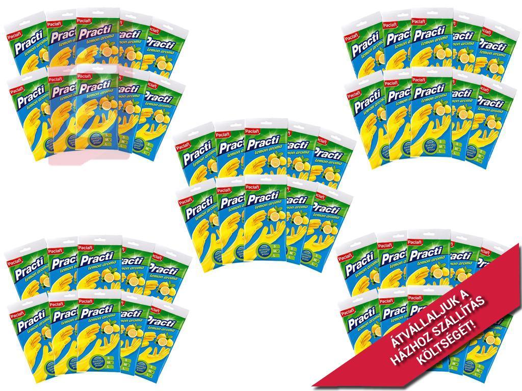 Kép a(z) Paclan Practi Gumikesztyű Extra Erős - M-es méret 50 pár/csomag (Citrom illattal, gyapjúbevonattal ellátott) nevű termékről