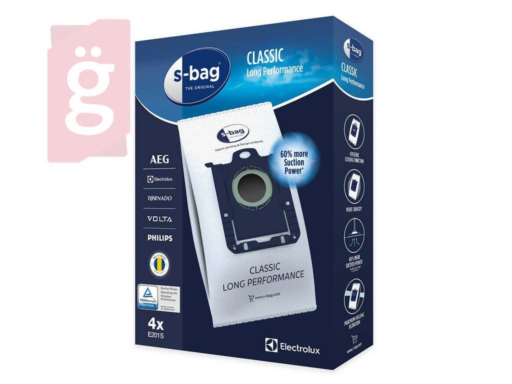 Kép a(z) IZ-E5/PH5GY03S Electrolux / AEG / Philips S-BAG Classic GR201S Gyári mikroszálas porzsák (4db/csomag) / 9001684746 nevű termékről